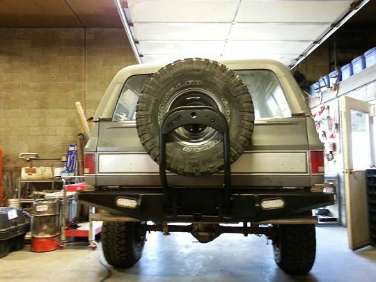 Gauntlet Rear Bumper with Swing Down Tire Carrier
